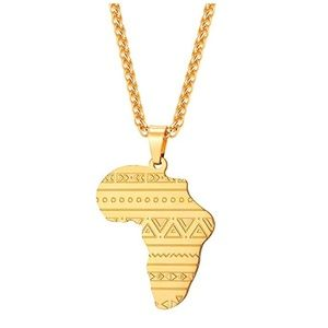Other - Gold Africa Map Pattern Pendant Necklace Egypt
